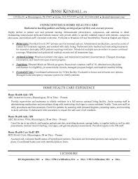 Example Home Health Care Resume Free Sample