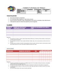 Doc Formato Plan Anual De Trabajo Club De Mariela Narvaez