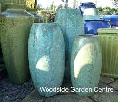 extra large tall glazed opal green toggle pot planter garden centre pots to ceramic planters uk