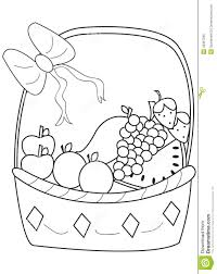 Small Picture Hand Drawn Coloring Page Of A Fruit Basket Stock Illustration