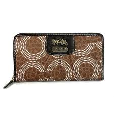 157125  Coach Dot Logo Monogram Large Brown Wallets EDJ