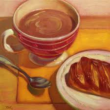 hot chocolate painting. Plain Painting Hot Chocolate And Danish Pastry And Painting E