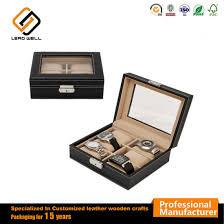6 watch leather box glass top display lockable jewelry box