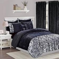 luxury 3 piece black velvet bedding set