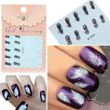 Aliexpress.com : Buy 20pcs/sheet Black & White Feather Nail Art ...