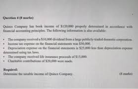 When is life insurance taxable? Question 4 8 Marks Quince Company Has Book Income Of 120 000 Properly Determined In Accordance With Homeworklib