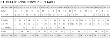 Telemark Boot Size Chart Telemark Ski Boot Size Conversion Chart