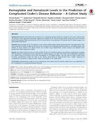 Hemoglobin To Hematocrit Conversion Chart Pdf Hemoglobin And Hematocrit Levels In The Prediction Of