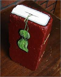 maroon burdy book with tassel hand painted brick unique gift book ends