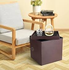 titan mall leather storage ottoman foot rest collapsible coffee table seat brown round