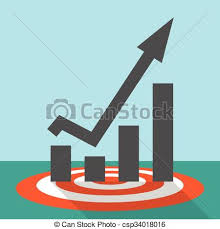 Red Target Chart Growth Flat
