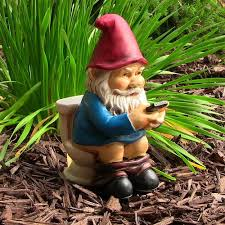 garden gnome. Perfect Gnome Garden Gnome On Phone Yard Statue A Bathroom Break  Uneedum And