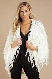 get it right gy ivory faux fur cardigan