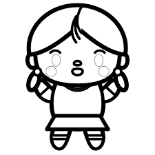 塗り絵に最適な白黒でかわいい女の子の無料イラスト商用フリー オイデ43