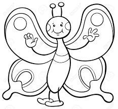 蝶昆虫動物キャラクターぬりえページの白黒漫画イラスト