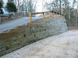 wood retaining wall construction in stylish home design trend with plans treated