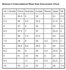 International Shoe Size Chart World Of Reference