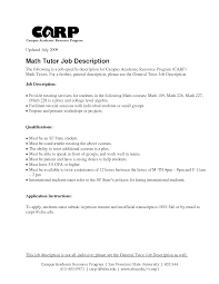 Tutor Job Description Resume Alluring Math Tutor Resume Samples for Your Sample Tutor Resume 1