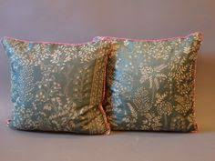 indian antique french cushions. A Pair Of Green Silk Embroidered Cushions, India, Early C With Later Pink Piping Indian Antique French Cushions