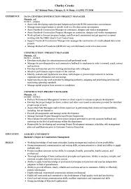 Construction Project Manager Resume Samples Velvet Jobs