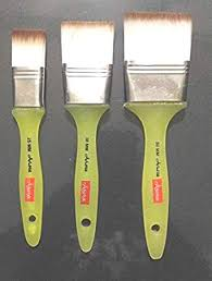 arora Artist Quality Flat Paint <b>Brushes</b> Of <b>3 Pc</b> (<b>1</b> Inch ,1.5 Inch & 2 ...