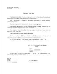 Affidavit Affidavit Of Loss Form Template Rent Verification Letter