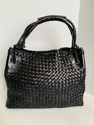 falor made in italy hand woven intrecciato black leather tote hand bag from falor