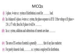 calculations of a c distributions methods amp phase unbalanced lo mcqs 15