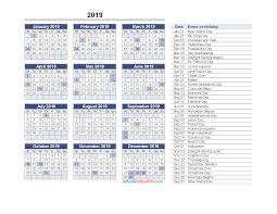 Calendar 2019 Printable With Holidays Yearly Calendar 2019 With Holidays Printable Pdf And Image Monday