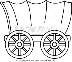 pioneer wagon drawing. ancient western covered wagon icon, outline style pioneer drawing