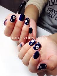 ネイビーフラワーネイル Pourvous Nails ブログ