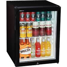 image of motel mini silent bar fridge with 3 glass paned door and lock 60ltr
