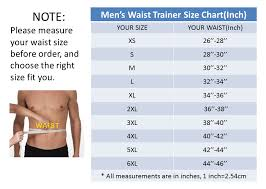 Tummy Size Chart Mens Tummy Control Waist Trainer Sport Latex Shapewear
