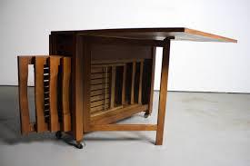 Mid Century Danish Modern Drop Leaf Hide A Way Table w 4 Folding