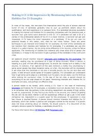 Hobbies Andests On Resume Examples New In Example Best Free And