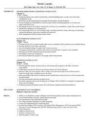 Logistics Consultant Resume Samples Velvet Jobs