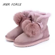 mbr force new arrival sheepskin leather fur lined women winter suede snow boots pom pom