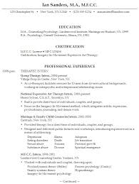 Psychology Resume Templates Ians1 Therapist Resume Template