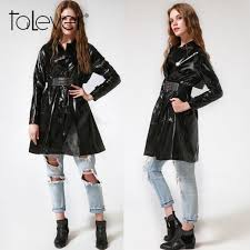hot women s winter outerwear patent leather trench black parka windbreakers coat