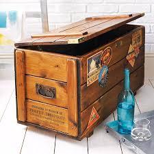 personalised storage trunk vintage travel blanket chest