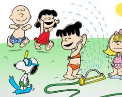 happy refrigerator clipart. charlie brown, snoopy and the peanuts gang run in sprinkler, refrigerator magnet, happy clipart