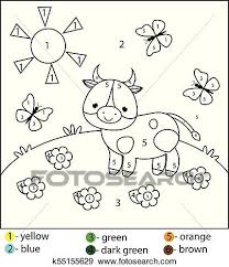 This is a good one for teaching the names of colors to young children. Educational Game For Kids And Toddlers Color By Numbers Printable Worksheet For Children Coloring Page With Cow Clip Art K55155629 Fotosearch
