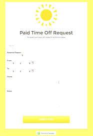 Time Off Request Form Sample Impressive Printable Time Off Request Form Template Paid Free Templates