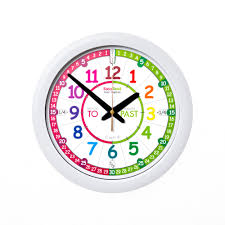 this rainbow past to wall clock is an ideal first clock to help children learn to tell the time at home its clear design and simple 3 step teaching
