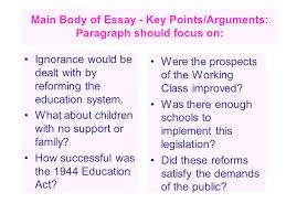 labour welfare reforms essay tips ppt video online  main body of essay key points arguments paragraph should focus on