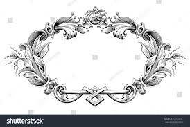 vintage frame tattoo designs. Vintage Baroque Victorian Frame Border Monogram Floral Ornament Leaf Scroll Engraved Retro Flower Pattern Decorative Design Tattoo Designs