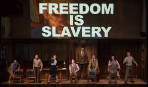 totalitarianism essay essay critical essay critical essays  same fears different century stage adaptation of orwell s the cast of 1984 courtesy ben gibbs