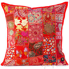 red patchwork embroidered colorful decorative boho sofa throw pillow couch cushion cover 20