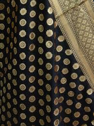 Small Buti Design Art Silk Dupatta Small Buti Design Black