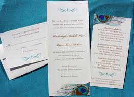 Peacock Invitations Tea Length Metallic Peacock Feather Scroll Belly Band Wedding